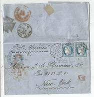 N°60X2 VARIETE LETTRE GC  LE HAVRE 11 SEPT 1875 POUR NEW YORK + VERSO CROIX DE MALTE - Poststempel (Briefe)