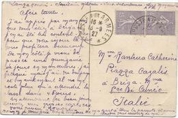 SEMEUSE 45C PAIRE CARTE DUREN ALLEMAGNE POSTE AUX ARMEES 13.9.1927 POUR ITALIE - Storia Postale