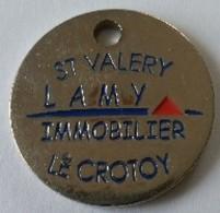 Jeton De Caddie - St VALERY - LAMY IMMOBILIER - LE CROTOY (80) - En Métal - - Munten Van Winkelkarretjes