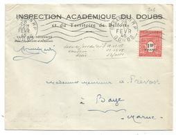 N° 708 SEUL LETTRE BESANCON RP 28 FEVR 1945 DERNIER JOUR DU TARIF ET USAGE 17 JOURS SUPERBE - 1944-45 Arc Of Triomphe