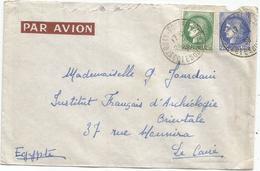 CERES 2FR25+2FR50 VERT LETTRE AVION ST QUAY 24.4.1939 POUR LE CAIRE AU TARIF - France