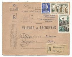 MULLER 20FR+ N°1130+11116 ENVELOPPE VALEURS A RECOUVRER GRIFFE ISERE + TAD A COTE ST SAVIN 28.3.1959 ISERE - 1955- Marianne Of Muller