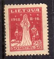 LITHUANIA LITUANIA LIETUVA 1920 THE SPIRIT OF RISES SPIRITO DELLA RESURREZIONE 50sk MLH - Litauen