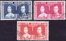 NEW ZEALAND 1937 KGVI 1d, 2½d & 6d Coronation Set699/701 FU - 1907-1947 Dominion