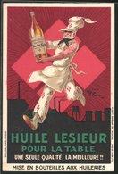 Werbebillet Huile Lesieur Pour La Table, Koch Trägt Flasche - Non Classificati