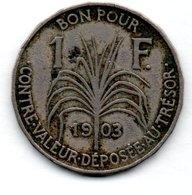 Guadeloupe  -  1 Franc 1903  -  état  TB - Colonie