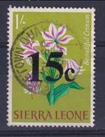 Sierra Leone: 1964/66   Decimal Currency - Surcharge    SG319     15c On 1/-      Used - Sierra Leone (1961-...)