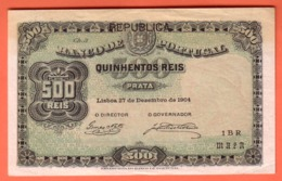 BILLET - PORTUGAL - 500 Reis Du 27 Décembre 1904 - Pick 105 XF - Portugal