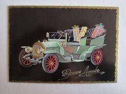 Carte Bonne Année Dessin Automobile Voiture à Identifier - Vieux Papiers