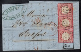 SOULTZ - SULZ - GUEBWILLER - ALSACE / 1874 BANDE DE 3 SUR LAC POUR BELFORT (ref 3855) - Alsace-Lorraine