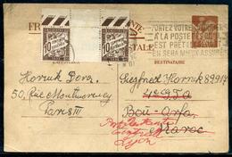 FRANCE - CP TYPE IRIS DE PARIS POUR LE MAROC , TAXÉE POSTE RESTANTE DE LYON LE 23/4/1941 - TB - Entiers Postaux