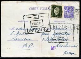 FRANCE - CP TYPE IRIS 1,2F + N° 690 OBL. LARRESSORE LE 3/10/1945 POUR L' ESPAGNE AVEC CENSURE - TB - Entiers Postaux
