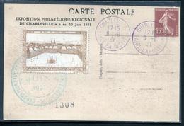 FRANCE - CP TYPE SEMEUSE CAMEÉ 15c BRUN , EXPO. PHILA. CHARLEVILLE DU 6/6/1931 AVEC VIGNETTE - NEUVE & TB - Entiers Postaux