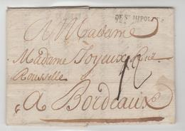 GARD: De St Hippolyte + TM 12 LAC De 1780 Pour Bordeaux TB - Storia Postale