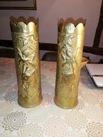 Magnifique Vase ARTISANAT DES TRANCHEE Douilles Ciseler Par Les Poilus  LOFT  N HESITER PAS FAIRE OFFRE - 1914-18