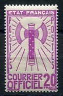 RC 15645 FRANCE SERVICE N° 15 - 20F FRANCISQUE COTE 40€ NEUF ** MNH TB - Dienstpost