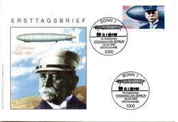 """BRD Schmuck-FDC """"75. Todestag Von Ferdinand Graf Von Zeppelin"""" Mi. 1597 ESSt 6.2.1992 BONN 1 - FDC: Sobres"""