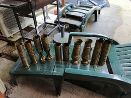 LOT DE 10 Magnifiques Vase ARTISANAT DES TRANCHEE Douilles Ciseler Par Les Poilus  LOFT - 1914-18