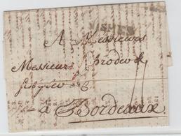 GARD: NIMES, Lenain 7 + TM 11 / LAC De 1782 Pour Bordeaux, Facture De Produits Maraichers,  TB - Marcophilie (Lettres)