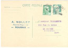 ROUBAIX Fosse Aux Chênes Nord Carte Postale Entier 8F Gandon Turquoise Complément 4F Vert Yv 810-CP1 807 Ob 4/5/1949 - Biglietto Postale