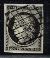 A2D-N°3 Blanc Sur Noir Sans Défaut - 1849-1850 Cérès