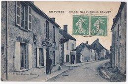 Le Puiset Grande Rue Et Maison BALLOT 1926 Fond Vert Voyagé - Otros Municipios