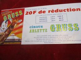 Cirque/ 2 Bons De Réduction/Arlette GRUSS/ Abbeville / EVREUX/  1996     TCK155 - Tickets - Vouchers