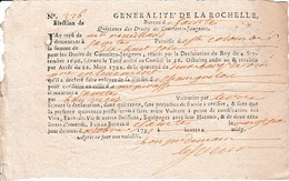 1731 - Généralité De LA ROCHELLE - Bureau De SAINTES - Quittance Des Droits De Courtiers-Jaugeurs - Roulage - Documents Historiques