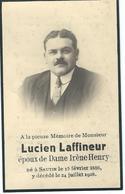 Souvenir Mortuaire - Lucien Laffineur époux De Irène Henry - SAUTIN 1886 / 1928 - Obituary Notices