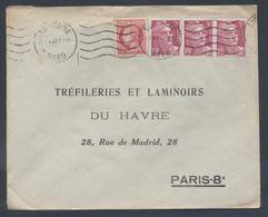 756 Gandon Bande De 3 676 Mazelin Tarif 10F Flamme Tourcoing Nord 1948 - Postmark Collection (Covers)