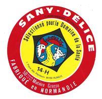 ETIQUETTE De FROMAGE..CAMEMBERT Fabriqué En NORMANDIE (Calvados 14-H)..Sany-Délice..sélectionné Domaine De La Santé - Cheese
