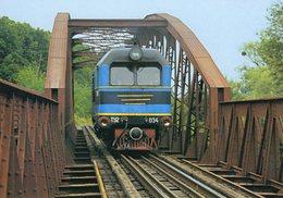 Diesel Locomotive No.TU2 034 Of Borsavalley Railway (UZ - Ukrainian Railways) On Bridge Over River Borsa In 2006  -  CPM - Trains