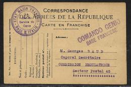 Cachet Etat-major Français / Base D'Italie / Le Chef Du Service Du Génie + Cachet Italien Comando Genio / Base Francese - Marcophilie (Lettres)