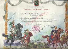 MILITARIA CERTIFICAT DE BONNECONDUITE PLIÉE 29eme DE DRAGONS COLONEL LASSALE TOULOUSE , BALZEAU JEAN PIERRE AU SP 86177 - Dokumente