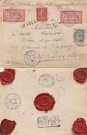 LETTRE. 5 8 07. CHARGÉ 350 Fr. HAZEBROUCK NORD POUR BRUXELLES BELGIQUE. 95c VERSO CIREV.D. & Cie HAZEBROUCK - 1900-27 Merson