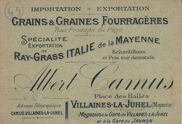 Villaines La Juhel Grains Et Graines Fourragères Albert Camus - Cartes De Visite