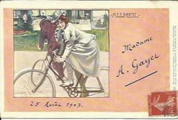 Jeune Femme En Vélo , ALLHEIL , Illustrateur : ( Voir Signature ) , 1907 - Autres Illustrateurs