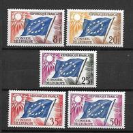 FRANCE 1958/59   CONSEIL DE L'EUROPE Série De 5 Valeurs N° 17 à 21  NEUFS - Service