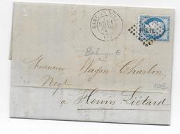 1873 - CACHET De GARE - LETTRE De DOUAI (NORD) Avec ETIQUETTE COMMERCIALE AU DOS - LOSANGE LIGNE PARIS à LILLE => HENIN - Marcophilie (Lettres)