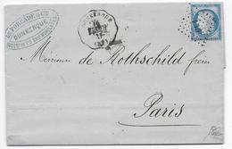 1875 - CONVOYEUR STATION - LETTRE De DUNKERQUE (NORD) HAZEBROUCK - LOSANGE LIGNE CL 1° => PARIS - IND 7 - Marcophilie (Lettres)