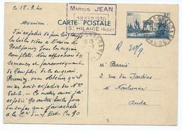 3268 - Entier Postal Arc De Triomphe 1940 WW2 Marius JEAN Saint Hilaire Aude 11 Narbonne BARRIE - Entiers Postaux