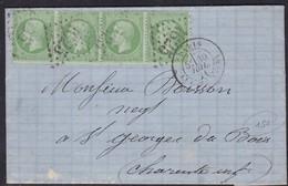 France, Paris - Yvert N° 20 X 2 Paires, GC 1625 La Gare D'Ivry Sur LAC Du 30/7/1871 - Marcophilie (Lettres)