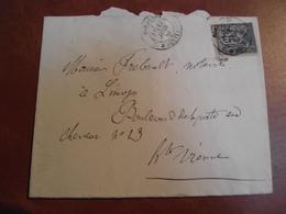 Enveloppe, Postée A Bordeaux Pour  Limoges, 1883 - Marcophilie (Lettres)