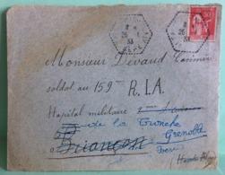 Marcophilie (lettre) Soldat Au 159 éme RIA Hôpital Militaire Grenoble1933 Isère 25.1.1933 - Marcophilie (Lettres)
