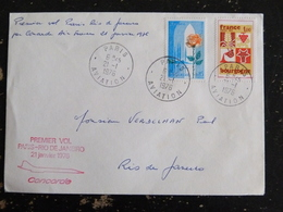 PREMIER VOL PARIS RIO DE JANEIRO 21 JANVIER 1976 PAR CONCORDE AIR FRANCE - CACHET ROND MANUEL PARIS AVIATION - Poste Aérienne