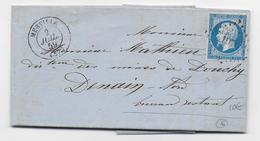 1859 - LETTRE De MERVILLE (NORD) Avec PC 1970 => DENAIN - IND 6 - Marcophilie (Lettres)