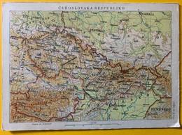 10058  -  Carte Double Topographie De La République De Tchécoslovaquie édition Espérantiste - Kinder