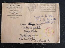MARSEILLE GARE - BOUCHES DU RHONE - CACHET ROND MANUEL ENCRE ROUGE - FLAMME PARIS 13 SALON AUTO CYCLE MOTO 1970 - Marcophilie (Lettres)