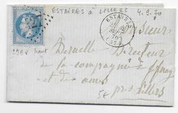 1870 - LETTRE De ESTAIRES (NORD) Avec GC 427 => LILLERS - - Marcophilie (Lettres)