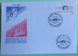 Marcophilie (lettre) Sommet De L'Arche 92 Puteaux - 14.7.1989 Révolution Française - Marcophilie (Lettres)